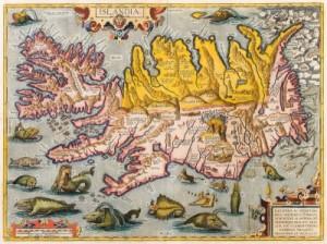 Karte Islands von Abraham Ortelius aus dem Jahr 1585 - Quelle: Wikipedia