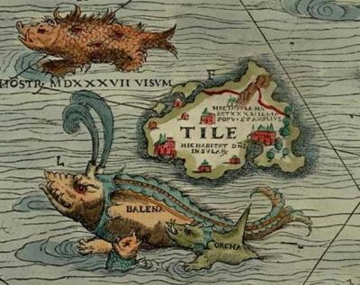 """Die Insel """"Tile"""" (d.h. Thule) in der Carta Marina aus dem Jahre 1539. Erstellt von Olaus Magnus (1490-1557). """"Islandia"""" befindet sich auf derselben Karte weiter nördlich."""