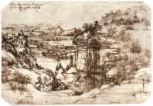 Arnolandschaft von 5. August 1473 (Leonardo da Vinci)  Quelle: http://www.zeno.org - Zenodot Verlagsgesellschaft mbH