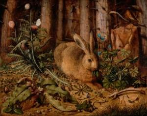 Hase im Wald, Öl auf Leinwand von Hans Hoffmann - Quelle: Wikipedia