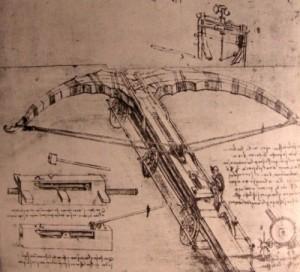 Entwurf einer Riesenarmbrust (ein Katapult) von Leonardo da Vinci - Quelle: Wikipedia