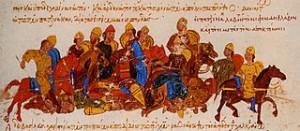 """Die Petschenegen gegen die """"Skyth"""" von Swjatoslaw I. (Quelle: Wikimedia)"""