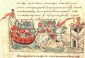 Oleg vor Konstantinopel (Radziwill-Chronik, frühes 13. Jhdt. Quelle: wikipedia)