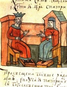 Olga spricht mit Konstantin VII. (Radzivill-Chronik, 15. Jhdt.; Quelle: Wikipedia)