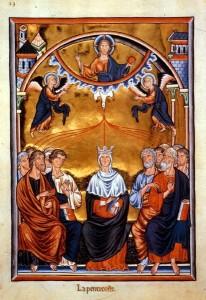Pfingstdarstellung im Ingeborg-Psalter (um 1200) (Quelle: Wikipedia)