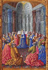 """Pfingsten im Stundenbuch """"Les Très Riches Heures"""" des Herzogs de Berry (15. Jahrhundert) (Quelle: Wikimedia)"""