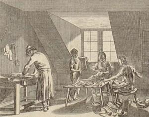 Der Schuster mit seinen Gesellen und dem Lehrburschen (Quelle: Bibliothek für Bildungsgeschichtliche Forschung (DIPF))