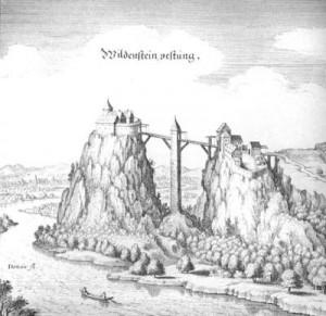 Burg Wildenstein, Kupferstich von Matthäus Merian aus Topographia Sueaviae, Frankfurt am Main 1643 (Quelle: Wikipedia)