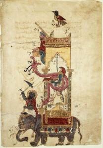 Elefantenuhr des al-Dschazarī aus einer Automata - Handschrift um 1315 (Quelle: Wikipedia)