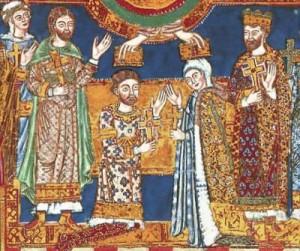 Die Krönung von Heinrich dem Löwen und Mathilde (Ausschnitt aus dem Evangeliar Heinrichs des Löwen, um 1188) (Quelle: Wikipedia)