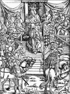"""Abnahme des Lehnseid in einem Holzschnitt aus Ulrich Tengler's """"Leihenspiegel"""" Augsburg 1512 (Quelle: Wikipedia)"""