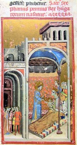 Die Geburt von Prinz Vajk (Stephan I.) (Chronicon Pictum, 14. Jhdt.; Bild: wikimedia.org)