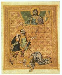 Königin Hemma betet zum Hl. Wenzel (Vita d. Hl. Wenzel, vor 1006; Bild: wikipedia.org)