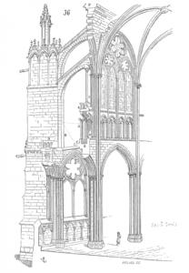 Schnitt durch die hochgotischen Bauteile der Abteikirche St. Denis (Quelle: Wikipedia)