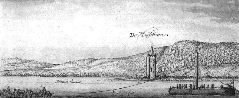 Treidelschiff am Binger Mäuseturm - Federzeichnung von Wenzel Hollar 1636