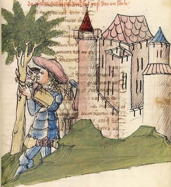 Wolfram von Eschenbach - Parzival 1 - Parzival bindet sein Pferd an die Linde vor der Burg des Gurnemanz