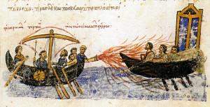 Seeschlacht unter Griechischem Feuer (Codex Skylitzes Matritensis; 12. Jhdt.; Madrid; Quelle: Wikipedia)