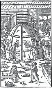 Die Pfeifen A. Die kleinen Fenster B. Die Marmorplatten C. Die Zange D. Formen für die Gestaltung der Glaswaren E. (Quelle: Wikipedia)