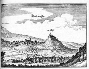 Badenweiler mit Burg Baden um 1656 vom Kupferstecher Matthäus Merian der Ältere (Quelle: Wikipedia)