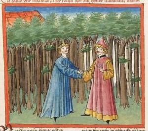 Bibel AT Cod Pal germ 17 - David und Jonathan geloben einander Freundschaft