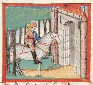 Bibel AT Cod Pal germ 17 - Friedrich kommt zum vierten Mal zum Schloß im Wald