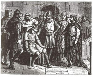 Der letzte merowingische Schattenkönig Childerich III wird abgesetzt (Quelle: Wikipedia)