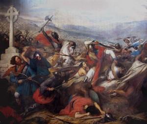 Karl Martell in der Schlacht von Tours und Poitiers  in einem Gemälde von Carl von Steuben aus der Zeit zwischen 1834 und 1837 (Quelle: Wikipedia)
