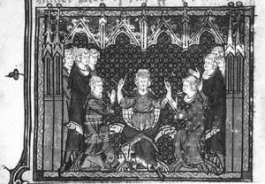 Kurz vor seinem Tod teilt Karl Martell das Frankenreich unter seinen Söhnen Karlmann und Pippin auf (Quelle: Wikipedia)