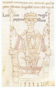 Karl der Grosse Darstellung hier in der Chronik des Ekkehard von Aura um 1112/14 (Quelle: Wikipedia)