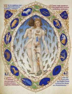 Homo signorum aus den Très Riches Heures des Herzogs von Berry (1412-16; Chantilly, Musée Condé, Ms. 65, fol. 14v) Quelle: Wikipedia