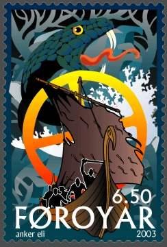 Naglfar leitet Ragnaroek ein - Briefmarke des Postverk Foroya - 2003 von Anker Eli Petersen