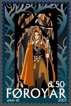 Voelva Heioi - Briefmarke des Postverk Foroya - 2003 von Anker Eli Petersen