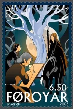 Yggdrasil mit Nornen - Briefmarke des Postverk Foroya - 2003 von Anker Eli Petersen