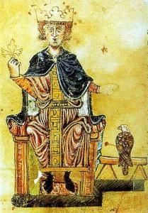 """Friedrich II. mit seinem Falken.  Aus seinem Buch """"De arte venandi cum avibus"""" (""""Über die Kunst, mit Vögeln zu jagen""""),  Biblioteca Apostolica Vaticana, Rom (Pal. lat. 1071, fol. 1v, Süditalien/Sizilien 1258–1266) (Quelle: Wikipedia)"""