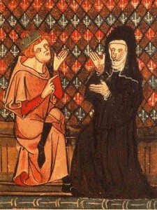 Abaelardus und Héloïse in einer Handschrift des Roman de la Rose (14. Jahrhundert) Quelle: Wikipedia