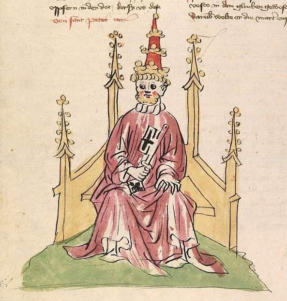 Elsässische Legenda Aurea Cod Pal germ 144 - Der heilige Petrus als thronender Papst