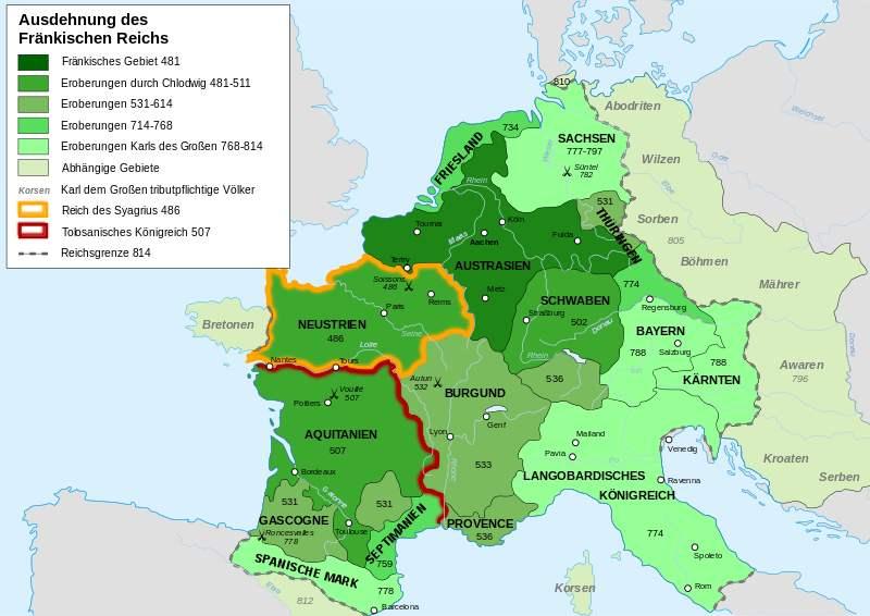 Karte der Ausdehnung des Fränkischen Reichs 481 bis 814