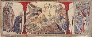 Geburt von Mohammed Miniatur auf Pergament  Jami' al-tavarikh (Compendium of Chronicles)  Iran (Tabriz), c. A.H. 714/A.D. 1314–15  Edinburgh University Library (MS Arab 20, folio 42r) Cat. 6 Quelle: Wikipedia