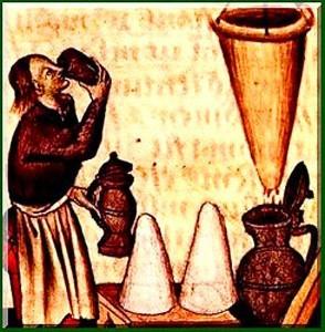 Herstellung und Verkostung von Hypocras im Mittelalter Quelle: Wikipedia