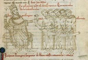 Kaiser Berengar I. dargestellt im Chronicon Casauriense des Johannes Berardi, spätes 12. Jahrhundert. Quelle: Wikipedia