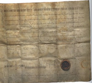 Schenkungsurkunde Konrads I. an das Kloster Fulda vom 12.04.912 (Quelle: Wikipedia)