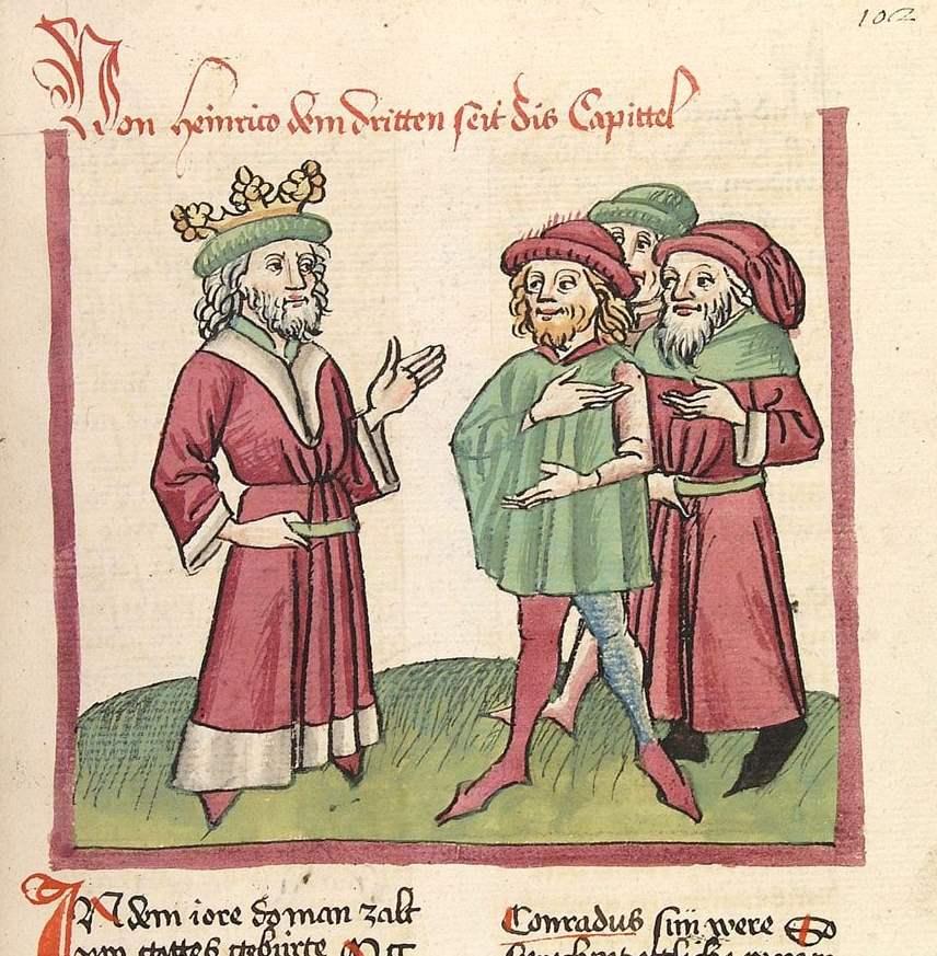 Chronicon pontificum et imperatorum - Cod. Pal. germ. 137 - Kaiser Heinrich III. und drei seiner Untertanen