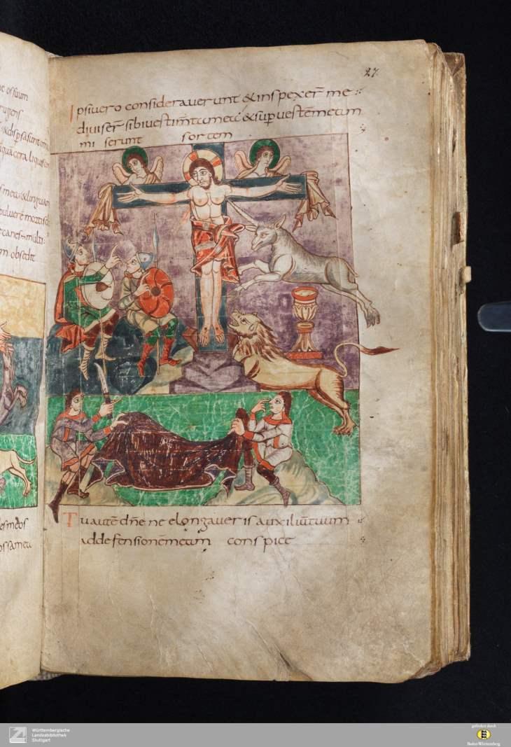 Stuttgarter Psalter - Cod bibl fol 23 - Seite 57 - Jesus am Kreuz