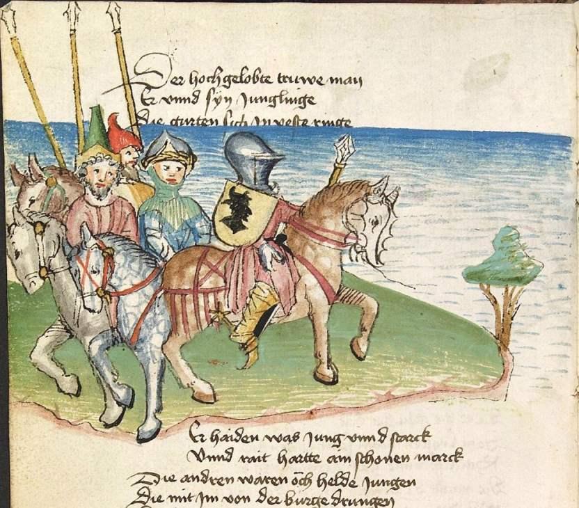 Cod Pal germ 353 fol 009v - Die Heidin - Belyant und seine Leute ziehen gewappnet zum Turnier