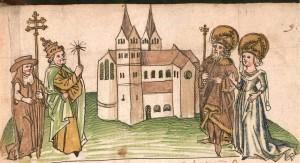 Kaiser Karl der Grosse stiftet mit seiner Königin Hildegard das Kemptener Kloster. Ausschnitt aus der Kemptener Klosterchronik von 1499:  Auf der Rechten Seite ist Hildegard zusammen mit Karl dem Großen abgebildet. Quelle: Wikipedia