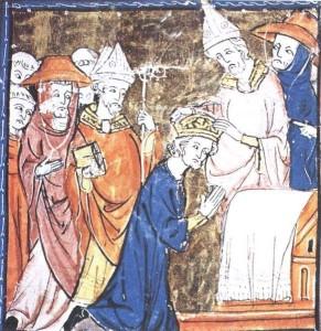 Illustration in einer Handschrift aus dem 14. Jahrhundert Krönung Karl des Grossen im Petersdom. Quelle: Wikipedia