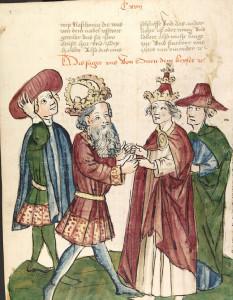 Otto I. begegnet Papst Johannes XII. (Werkstatt des Diebold Lauber um 1450; Quelle: Wikipedia.de)