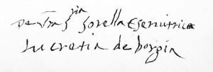 """Unterschrift """"Lucretia de Borgia"""""""