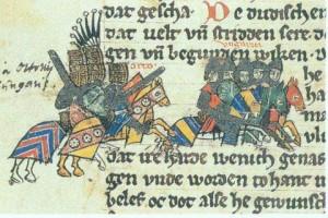 Lechfeldschlacht in der Sächsischen Weltchronik (Quelle: Wikipedia)