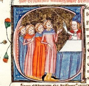 Segnung der Seuchenkranken, zwischen dem Jahre 1360 und 1375 entstandene Buchmalerei Quelle: Wikipedia